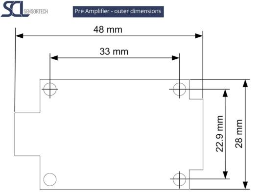 SCL Sensortech - Pre Amplifier outer dimensions